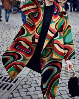 Turndown Collar Long Sleeves Printed Casual Woolen Coat