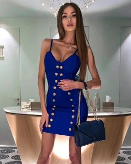 V Neck Sexy Spaghetti Strap Buttons Party Dresses