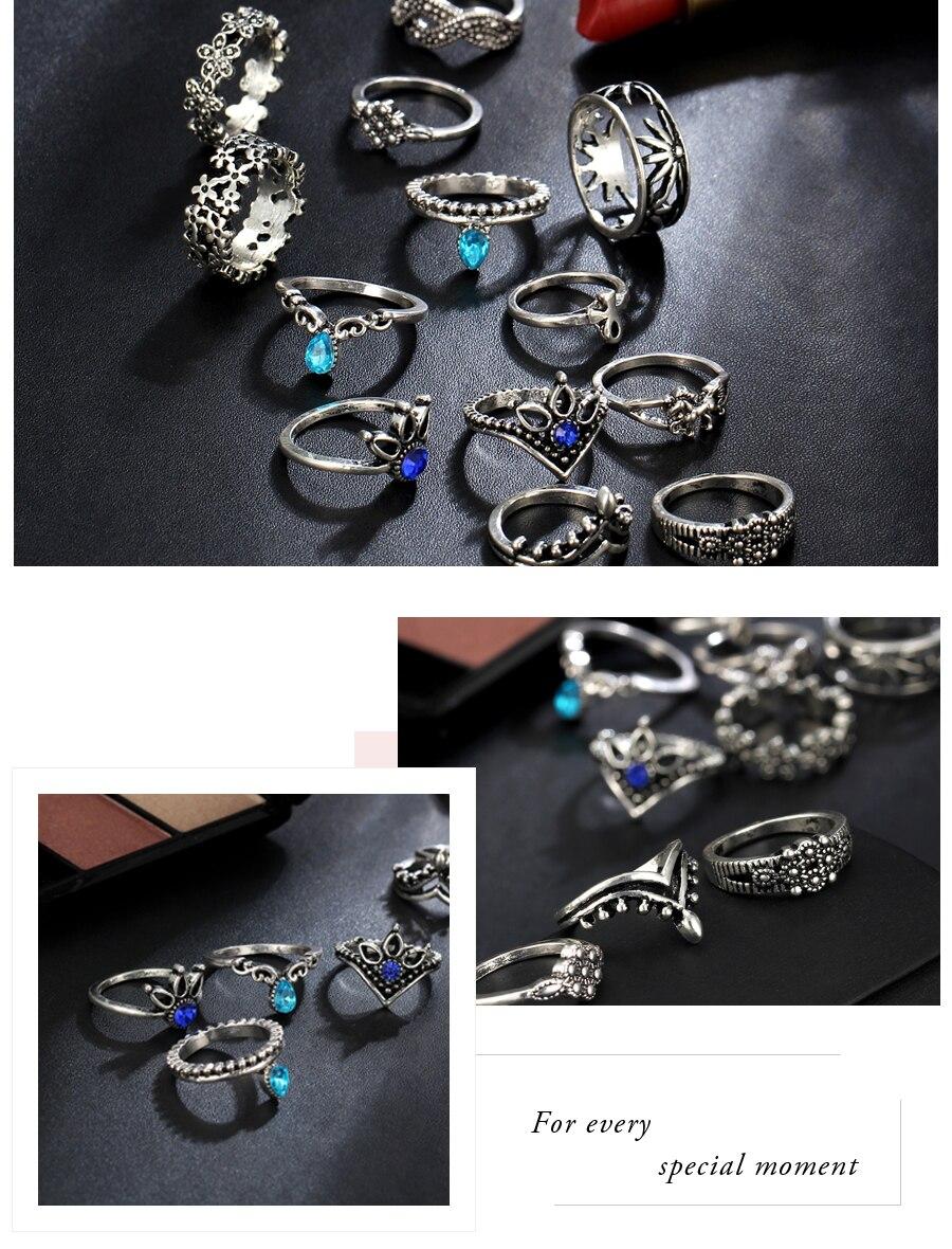 Vintage Geometric Pattern Crystal Rings Set4