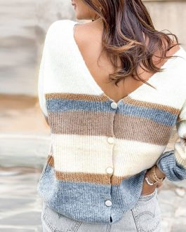 Vintage striped knitted Short cardigan