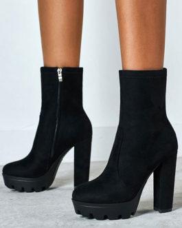 Ankle Micro Suede Round Toe Chunky Heel High Heel Booties