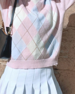 Argyle Knitted Vintage Crewneck Cute Casual Sweater