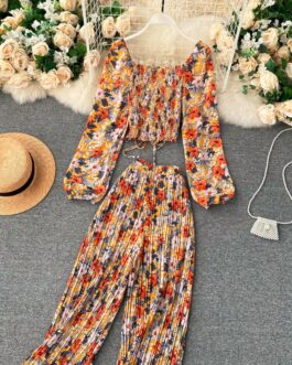 Boho Floral Puff Sleeve Drawstring Ruched Pleated Wide Leg Long Pants Two Pieces Set
