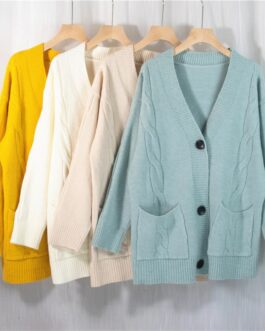 Cardigans Pockets Elegant Knitwears Solid Slim Sweater