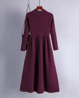 Casual Elegant Solid Long Sleeve A-line Sweater Dress