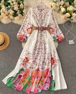 Casual Fashion Retro Puff Sleeve Button A-line Maxi Dress