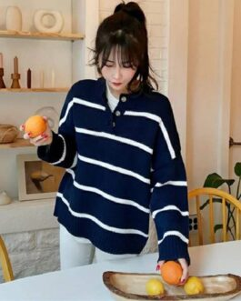 Casual Fashionable Buttons Knitted Striped Sweaters
