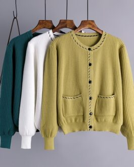 Casual O Neck Long Sleeve Elastic Loose Jumper Sweater Outwear