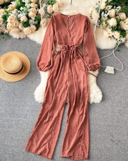 Casual Retro Floral Jumpsuits V Neck Puff Sleeve Long Rompers
