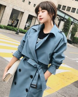 Casual Slim Belt Cloak Vintage Windbreaker Trench Coat