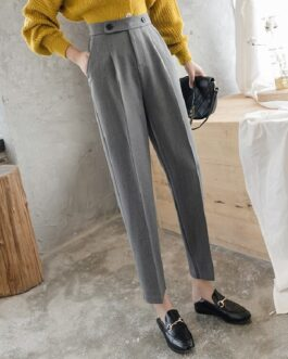 Casual Solid Button Straight High Waist Pants