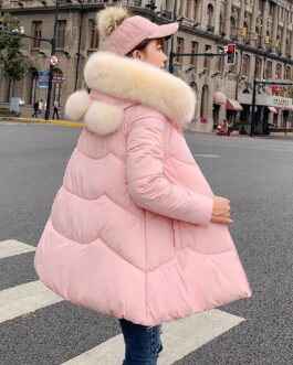 Casual Solid Hooded Parkas Large Fur Collar Jacket