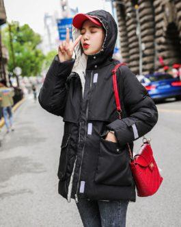 Casual Solid Jacket Large Fur Collar Slim Cotton Coat