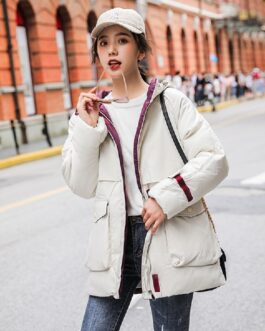 Casual Solid Jacket Large Fur Collar Slim Cotton Coat