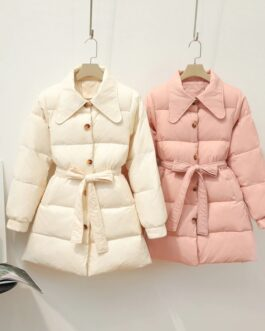 Casual Solid Single Breasted Parkas Padded Outwear