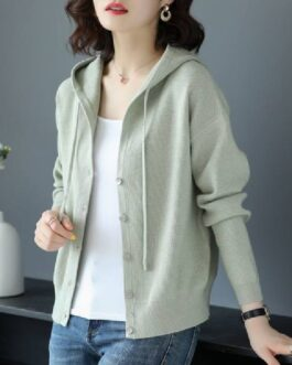 Casual Solid Single Breasted V Neck Sweater