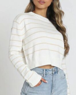 Casual Striped O Neck Basic All Match Pullover Sweaters