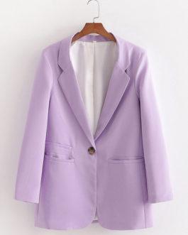 Casual Turndown Collar Long Sleeve Buttons Short Jackets