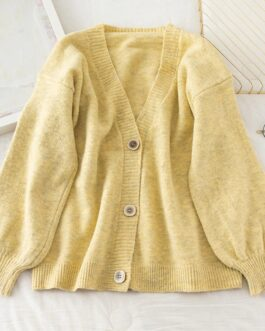 Casual V Neck Fashion Buttons Elastic Puff Sleeve Cardigans