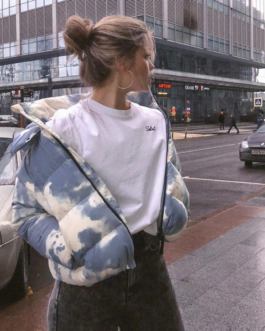 Casual Zipper Up Hooded Cotton Puffer Jacket