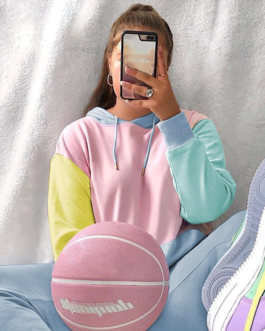 Contrast Oversized Kawaii Front Pocket Cute Hoodies