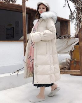 Duck Down Fox Fur Collar Jacket Long Sleeve Parka Coats