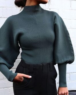 Elegant Lantern Long Sleeve Turtleneck Sweater