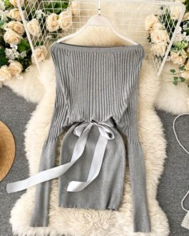 Elegant Off Shoulder Slash Neck Short Sweater Dress