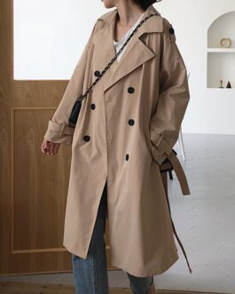 Elegant Office Solid Long Trench Coat