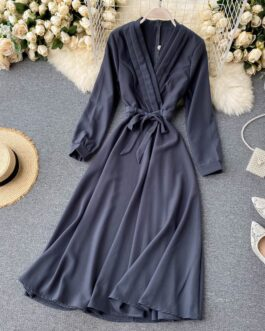 Elegant Solid V Neck Long Sleeve Lace up A-line Streetwear Midi Long Dresses