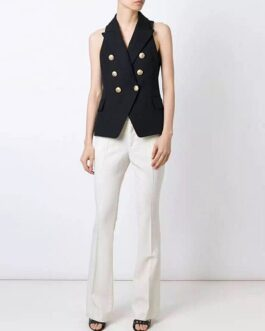 Elegant V Neck Button Sleeveless Runway Party Vest Coats