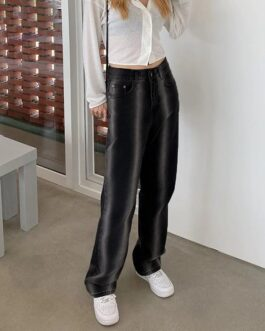Fashion Casual Cotton Flare High Waist Baggy Jeans Pants