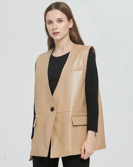 Fashion Single Button Sleeveless Jacket