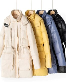 Fashion Solid Padded Hooded Parkas Jacket Large Fur Collar