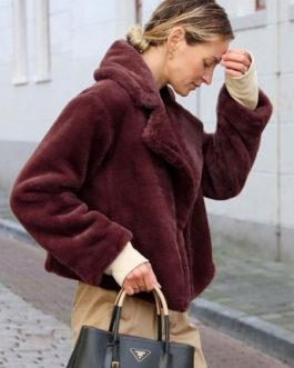 Faux Fur Long Sleeves Casual Turndown Collar Coat