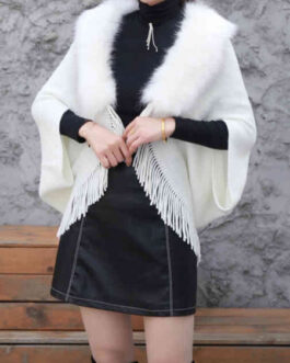 Faux Fur Poncho Turn Down Collar Layered Fringe Cape