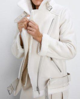 Faux Leather Lambs Wool Fur Collar Pu Zipper Jacket