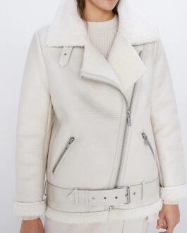Faux Leather Lambs Wool Fur Collar Pu Zipper Jacket