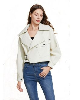 Faux Leather PU Style Coat Collar Loose Punk Outerwear
