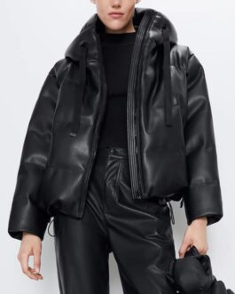 Faux Leather Padded Hooded Jacket Casual Masculine Style