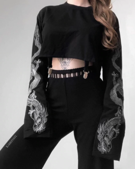 Gothic Flare Sleeve Dragon Print Punk Sweatshirt