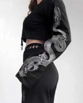 Gothic Flare Sleeve Dragon Print Punk Sweatshirt