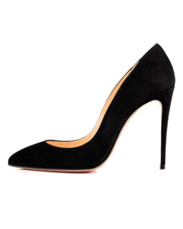 High Heels Suede Leather Pointed Toe Stiletto Heel Slip On Pumps