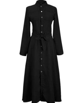 High Rise Stand Collar Buttons Long Sleeves Shirt Maxi Dress