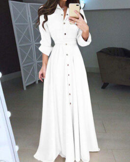 High Rise Stand Collar Buttons Long Sleeves Shirt Maxi Dress