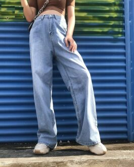 High Waist Wide Leg Casual Jeans Baggy Pockets Denim Pants