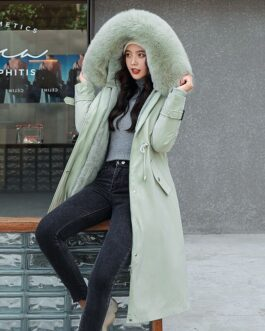 Hooded Jacket Large Fur Collar Embroidery Padded Long Coat