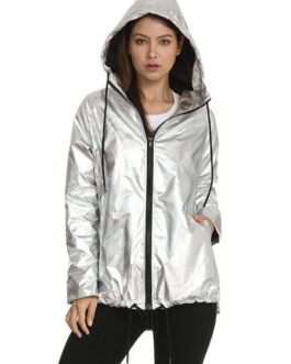 Hooded Zipper Drawstring Polyester Light weight Jacket