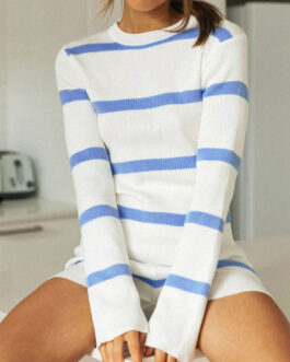 Jewel Neck Long Sleeve Stripes Outfits  Two Piece Sets