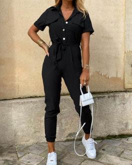 Jumpsuit Turndown Collar Short Sleeves Cotton Blend Skinny Playsuit